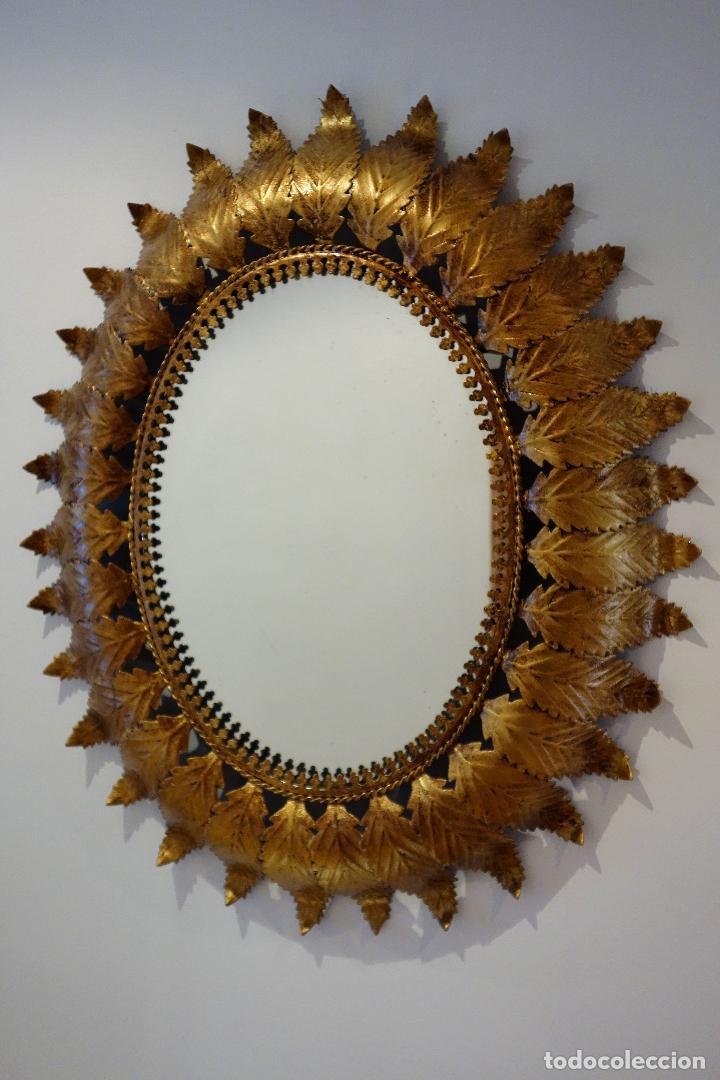 espejo vintage tipo sol marco de hojas años 60 - Comprar en ...