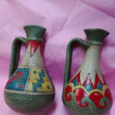 Vintage: JARRITAS DE BARRO PINTADO ARTESANAL. Lote 111459239
