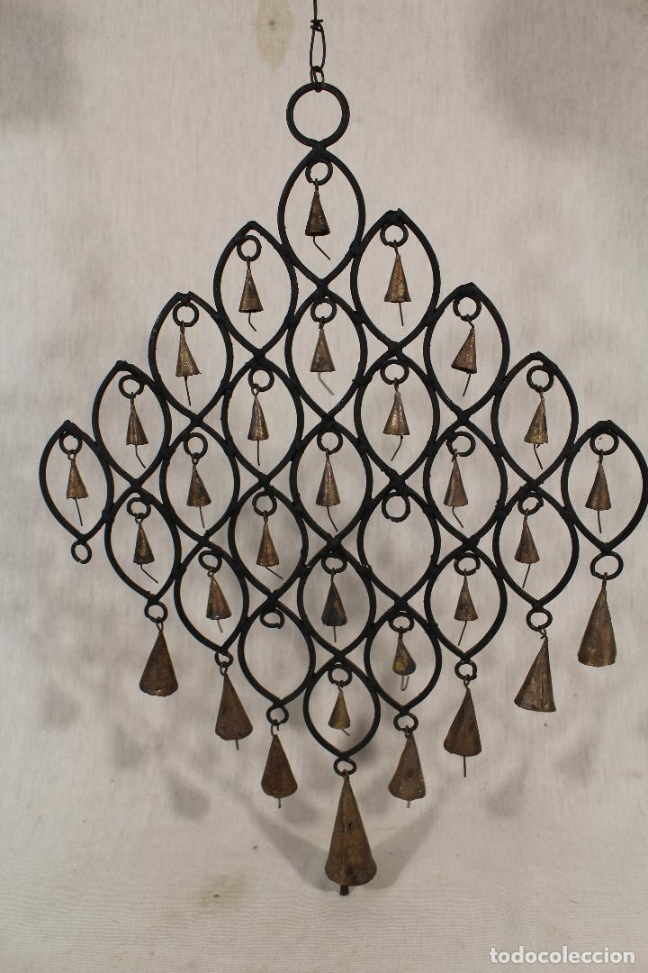 Vintage: llamador en hierro de forja con campanas - Foto 3 - 159603776
