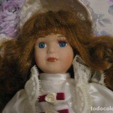 Vintage: BELLISIMA MUÑECA DE PORCELANA VINTAGE VESTIDA DE ÉPOCA IDEAL DECORACION. Lote 112574651