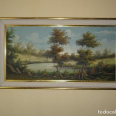 Vintage: PINTURA ORIGINAL PAISAJE ÓLEO SOBRE TABLEX AÑOS '60. FIRMADO. ABSOLUTE VINTAGE. Lote 112983827