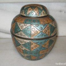 Vintage: JARRON - TIBOR EN BRONCE. INDIA. Lote 114687279