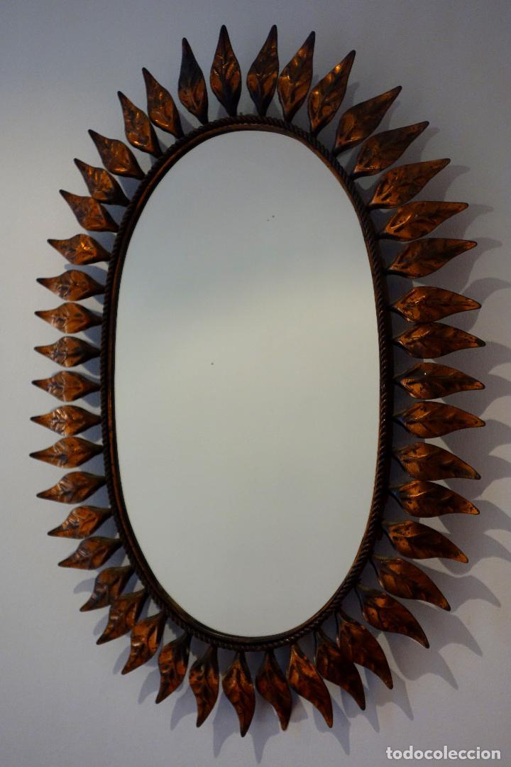 Vintage: Espejo vintage sol años 60 metal color cobre ovalado hojas - Foto 2 - 114695515