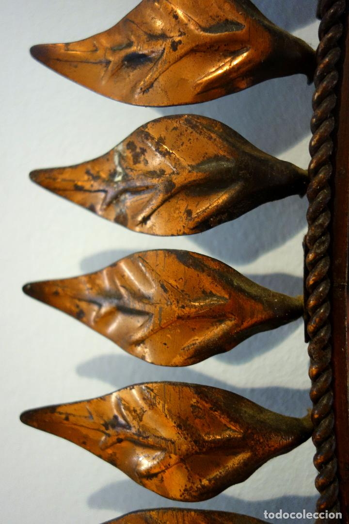 Vintage: Espejo vintage sol años 60 metal color cobre ovalado hojas - Foto 3 - 114695515