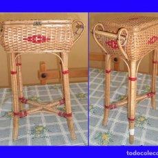 Vintage: VINTAGE ANTIGUO COSTURERO DE MIMBRE CON PIES MIDE 43/24/26 CM. . Lote 115527071