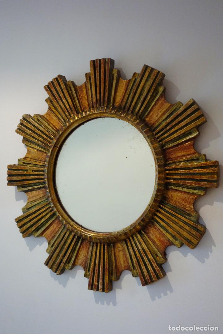 Vintage: Espejo vintage tipo sol madera policromada años 60 - Foto 2 - 115688815