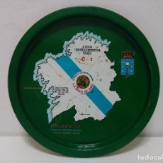 Vintage: BANDEJA DE LATA DE LA ONZA DE ORO DETERIORADA - 32 CM DE DIÁMETRO APROX.. Lote 116673391