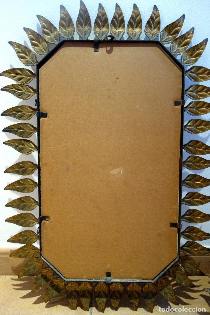 Vintage: Espejo vintage con marco de hojas en metal dorado al pan de oro años 60 sol rectangular - Foto 3 - 116833971