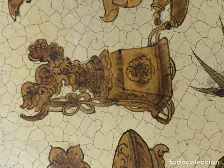 Vintage: bandeja hojalata fondo craquelado motivos dorados orientales pinceles mariposas dados caja 39,5cms - Foto 8 - 117152195