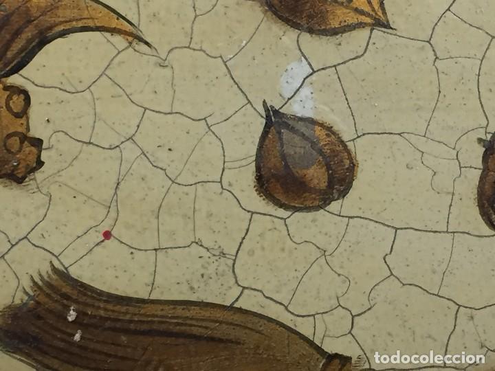 Vintage: bandeja hojalata fondo craquelado motivos dorados orientales pinceles mariposas dados caja 39,5cms - Foto 9 - 117152195