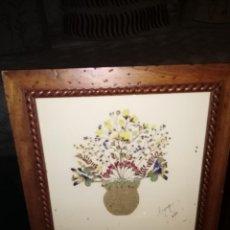 Vintage: CUADRO ARTESANAL CON FLORES SECAS. Lote 117722355