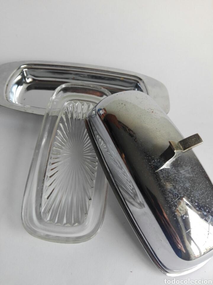 Vintage: Mantequillera metal cromado años 70 aluminio retro Made in Spain vintage - Foto 3 - 118655212