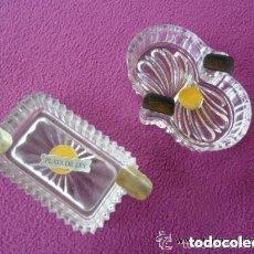 Vintage: PAREJA DE CENICEROS EN CRISTAL Y PLATA. Lote 119584639