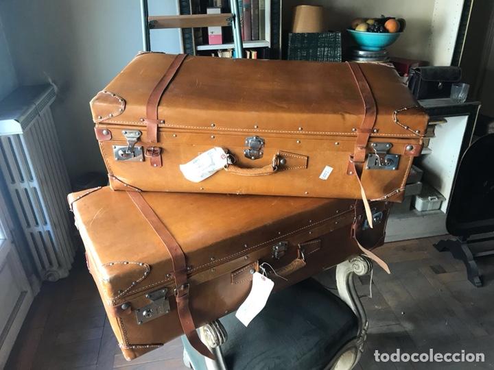 Maletas de cuero vintage (2) leather suitcase, usado segunda mano