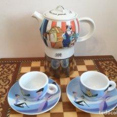 Vintage: CURIOSA CAFETERA PORCELANA Y ACERO CON 2 TAZAS. Lote 120219902