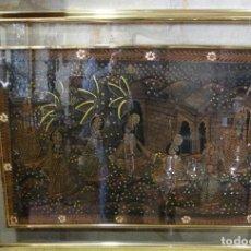 Vintage: CUADRO CON SEDA DE LA INDIA PINTADA A MANO. Lote 120560147