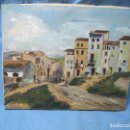 Vintage: CUADRO PINTADO AL OLEO DE PUEBLO O PAISAJE P.PACHECO AÑO 78. Lote 120592447