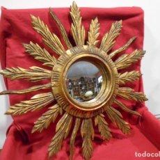 Vintage: MAGNIFICO ESPEJO DE MADERA SOL CONVEXO ABOMBADO-OJO DE BRUJA-PAN DE ORO- FRANCIA 60'S -. Lote 120754371