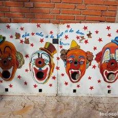 Vintage: ORIGINAL CARTEL,CHAPA,RETRO,VINTAGE,GRAN TAMAÑO ANTIGUO DE FERIA,TRAGABOLAS PAYASOS,VER DETALLES. Lote 121300419