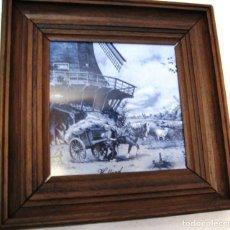 Vintage: AZULEJO CON PAISAJE HOLANDES- ENMARCADO. Lote 121624563