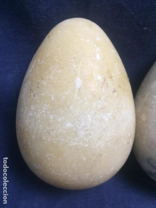 Vintage: dos grandes huevos huevo alabastro 2a mitad s xx 11x8cms - Foto 3 - 122276363