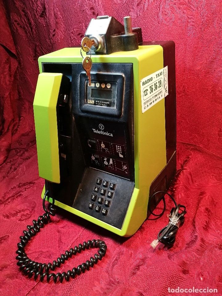Vintage: TELEFONO PUBLICO DE MONEDAS - PESETAS - AÑOS 80. TELEFONICA MODELO TRM 100 - Foto 2 - 123410571