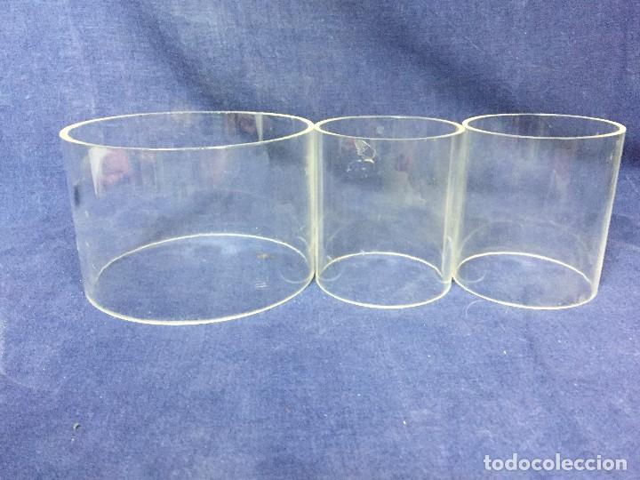 Vintage: tres bases tubo metacrilato plastico transparente años 70 altura 9,5 y 10cms - Foto 2 - 124661375