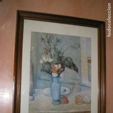 Vintage: CUADRO CON LÁMINA DE PAUL CEZANNE, LE VASE BLEU. Lote 128746939