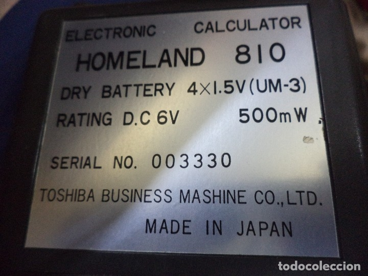 Vintage: Calculadora de bolsillo Toshiba 1975.Homeland 810.Electronic calculator.Diodos verdes. - Foto 4 - 128819431