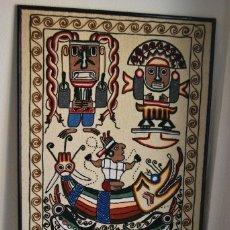 Vintage: TAPIZ - TELA BORDADA - DIOSES - MITOLOGÍA - INCA - MAYA - AZTECA - AÑOS 70-80 - GRAN TAMAÑO. Lote 129148847