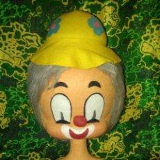 Vintage: PRECIOSA GRAN CABEZA DE PAYASO DE FIELTRO AÑOS 70. Lote 129184387