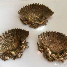 Vintage: 3 CONCHAS DE BRONCE CON BASE DE FIGURA DE HADAS. Lote 129358179