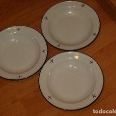 Vintage: 3 PLATOS DE PORCELANA ESMALTADA.. Lote 129434607