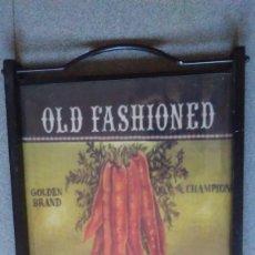 Vintage: BANDEJA INGLESA CON ASAS PLEGABLES DE METAL, MADERA Y CRISTAL. Lote 129446015