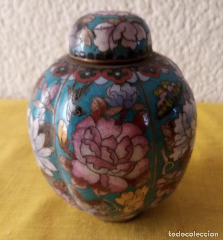 JARRON TIBOR CHINA - PEANA BASE - 12.5 X 3.5 CMS (Vintage - Decoración - Varios)