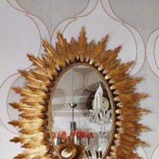 Vintage: GRAN ESPEJO DE FORJA Y PAN DE ORO VINTAGE. Lote 130432830