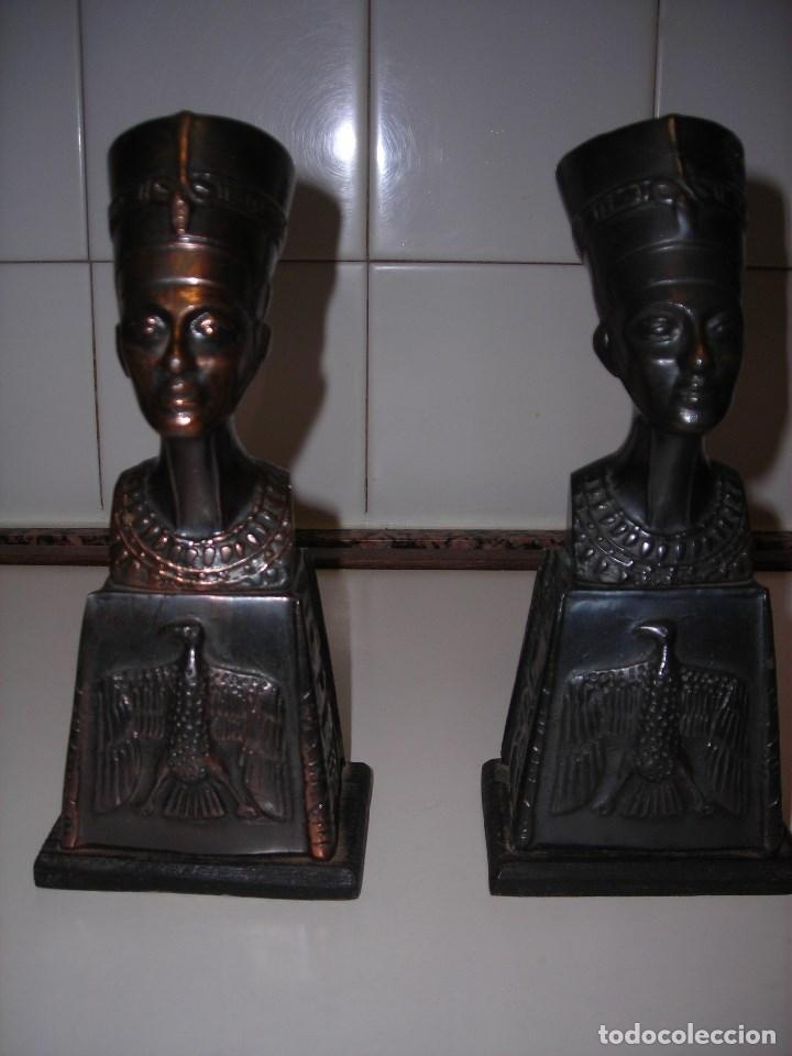 Vintage: DOS BUSTOS DE LA REINA NEFFERTITI EN BRONCE TRAIDOS DE EGIPTO.(Se pueden usar como sujetalibros) - Foto 4 - 82939339