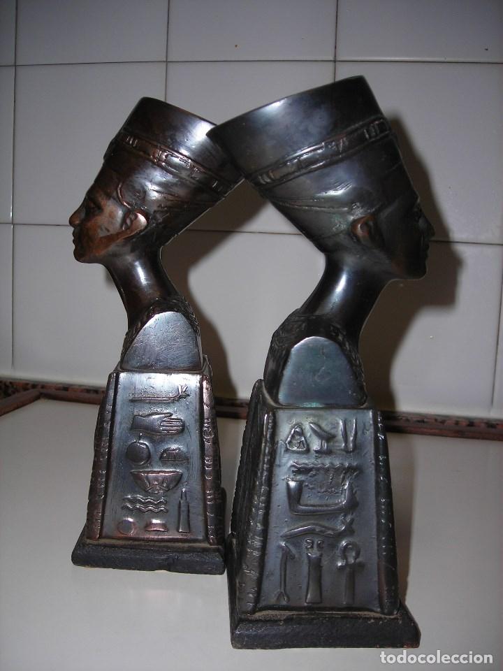 Vintage: DOS BUSTOS DE LA REINA NEFFERTITI EN BRONCE TRAIDOS DE EGIPTO.(Se pueden usar como sujetalibros) - Foto 5 - 82939339