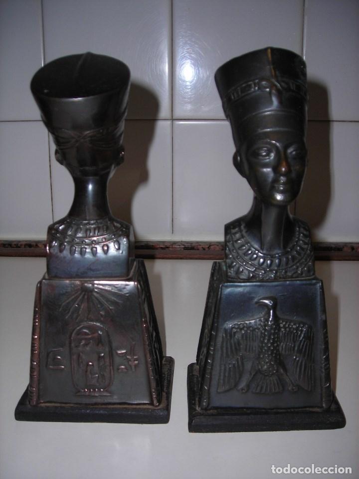 Vintage: DOS BUSTOS DE LA REINA NEFFERTITI EN BRONCE TRAIDOS DE EGIPTO.(Se pueden usar como sujetalibros) - Foto 6 - 82939339