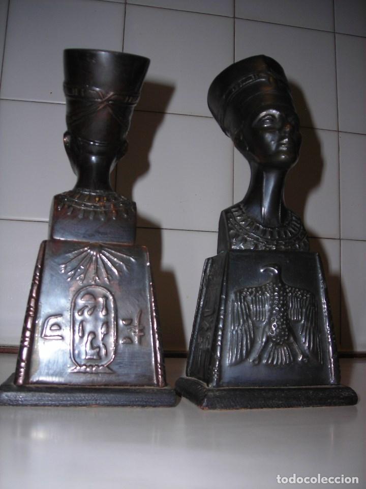 Vintage: DOS BUSTOS DE LA REINA NEFFERTITI EN BRONCE TRAIDOS DE EGIPTO.(Se pueden usar como sujetalibros) - Foto 7 - 82939339