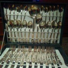 Vintage: CUBERTERÍA DE ALPACA COLOR PLATA SIN USO 12 SERVICIOS. Lote 131073997