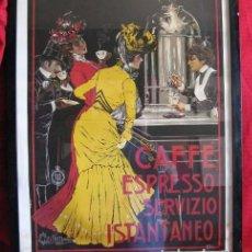Vintage: CARTEL ENMARCADO CAFFE ESPRESSO 74X53 CM. Lote 131487810