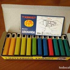 Vintage: CAJA COMPLETA NUEVA CON DOCE LINTERNAS TXIMIST CEGASA MADE IN SPAIN - AÑOS 70 LINTERNA -. Lote 132666738