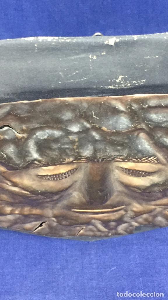 Vintage: réplica máscara funeraria de agamenón cobre latón dorado sobre soporte forrado micenas ppio s xx - Foto 7 - 134459678