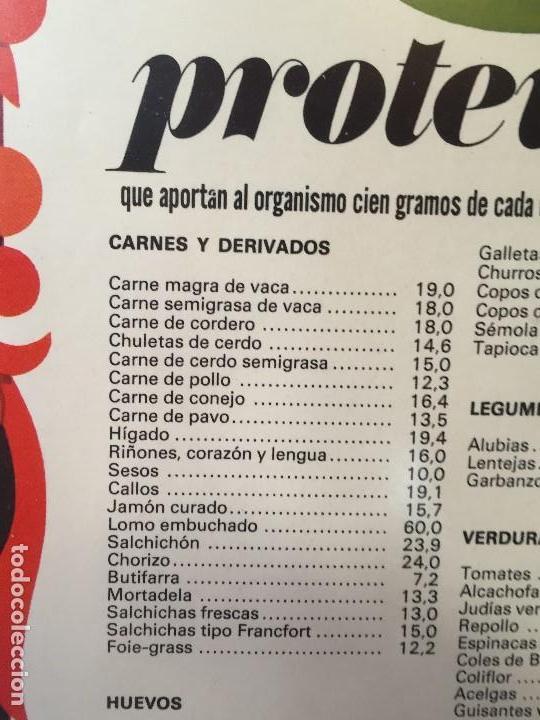 Vintage: TABLA ENMARCADA AÑOS 70 PROTEINAS COCINA GABINETE DE ORIENTACION DEL CONSUMO CHAVES 55X37CMS - Foto 3 - 135720827