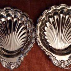 Vintage: 2 PLATOS DE METAL CON FORMA DE CONCHA. 132 GRS UNIDAD. Lote 136054922