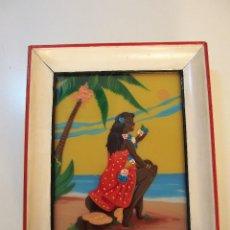Vintage: PRECIOSO CUADRO PINTADO SOBRE CRISTAL DE AFROAMERICANA FIRMADO MORANT AÑOS 60 SUPER POP. Lote 137649778