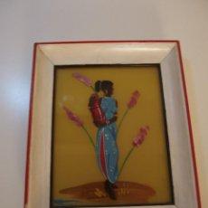Vintage: PRECIOSO CUADRO PINTADO SOBRE CRISTAL DE AFROAMERICANA FIRMADO MORANT AÑOS 60 SUPER POP. Lote 137649982