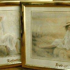 Vintage: DOS CUADROS CON LAMINAS (GIOVANNI RUIZ TORTOSA) MARCOS DORADOS 54,5 X 44,5 CM -REFLECTIONS -FEELINGS. Lote 138339862