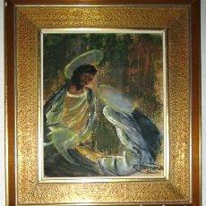 Vintage: PINTURA A GUACHES- FIRMADO.. VIRGEN Y SAN JOSE CON NIÑO- ENMARCADO. Lote 138725074